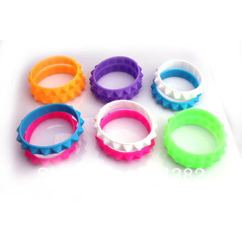 50pcs/lot Mix 6 Colors New Silicone Rubber Sport Gothic Spike Stud Wristband Cuff Bracelets  free shipping