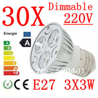 30pcs  power CREE E27 3x3W 9W 220V Dimmable Light lamp Bulb LED Downlight Led Bulb Warm/Pure/Cool White free shipping