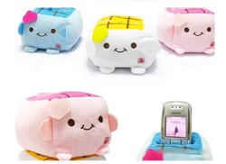 20pcs cartoon Plush Cellphone Holder New Cute Cartoon Tofu Plush Mobile Cell Phone Seat Stand Protect Block Holder(China (Mainland))
