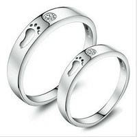 GS brand JZ-13 baby`s feet lovers`anniversary zircon crystal couple rings 925 stamp silver & 3 layers of platinum