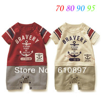 2013 New  Boy's rompers, baby  Sea anchor with short sleeves jumpsuits, two  colors optional, 5pcs/lot  free shipping