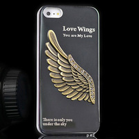 Free shipping!Luxury Metal fashion love Aluminum New Angel wing 3D metal Case Cover for iPhone 5 5s 4 4g 4s 4th case