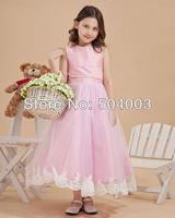 Custom-made  Charming Satin & Mesh  Bowtie Round Neck Flower Girl Dresses  free shipping