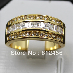 Size 10 or T Size 11 or V NICE COOL Mens White Sapphire 10KT Yellow Gold Filled Band Ring Best Gift Lover Gift for Man's hot(China (Mainland))