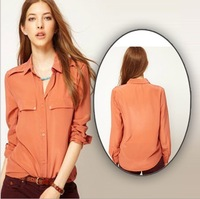 Free shipping  Ms lapels, pure color with long sleeves chiffon shirt