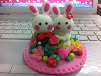 free shipping Rabbit handmade diy clay finished product gift
