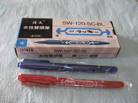 Red blue black small double slider pen line double slider pen water based marker pen