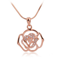 925 pure silver 18k rose color gold necklace Women short design