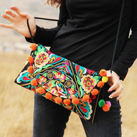 2013 women's bag national trend women's embroidered bag pompon flip up front and rear embroidered messenger bag women's handbag