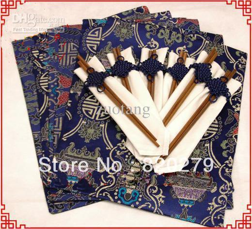 100% Damask Fabric Placemat Set Personalized High quality Designs (1pack=6pcs+6Chopsticks) Free(China (Mainland))