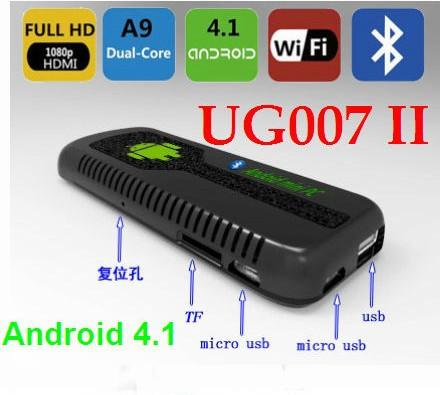 Hot UG007 II Android 4.1 Stick Mini PC TV stick RK3066 Dual Core Cortex A9 1GB RAM + 8GB ROM + 3D WiFi Bluetooth tv dongle(China (Mainland))