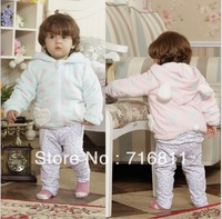 4pcs- Baby Coral fleece dot coat, Kids/Children's Lovely Hoodie Jacket, 832