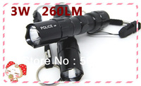 Mini LED Torch 3W 260LM CREE Q5 AA LED Flashlight  NOT Adjustable flash Light Lamp FREE SHIPPING wholesale