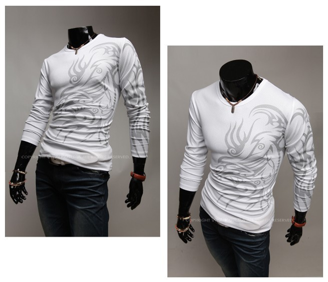 2013 Free shipping Spring new fashion Tattooing printed Men Slim O neck Long-sleeved printed T-shirt Black white M-XXL 001(China (Mainland))