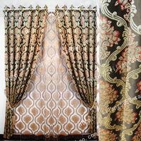 Quality fashion gold thread jacquard curtain black red flower
