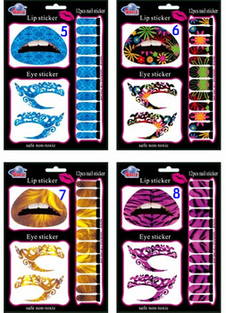 Cheap 3 in 1 fashion tattoo Eye tattoo consmetic nail tattoo in one pack tattoos sticker eye sticker nail sticker 10sets/lot