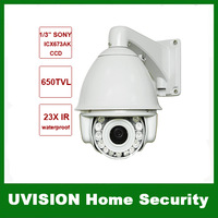 1/3 SONY ICX673AK CCD 650TVL 23X 140M intelligent IR illumination PTZ Camera Preset points 220