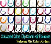2013 Top Fashion Women's Girl's Colorful Hair 1Clip Clip in Hair Extension 28Colors Optional Hot for Party & Daily 28PCS / LOT