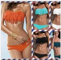 Tassel women Padded Boho Fringe Top Strapless Dolly Bikini Swimwear Bottom Top S M L