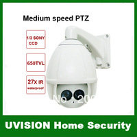 7 inch CCTV 650TVL 27X Optical Zoom 220 Presets Intelligent Variable IR speed PTZ Dome Cameras lens:2.5-50mm