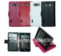 FREE SHIP! 10pcs for LG Optimus L7 P700 P705 book flip PU Leather case, +10pcs screen protector, with retail Package