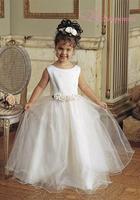 New Arrivals custom made Princess Scoop Peau Satin/ Tulle Flower Girl Dress under 50