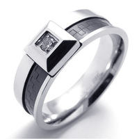 075411 Titanium 316L Stainless Steel Ring With Cubic Zirconia Trandy Fashion Men's Jewelry Free Shipping