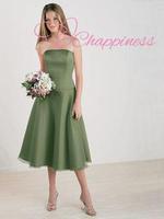 Luxurious A Line Strapless Satin/ Organza Evening dresses knee length red evening dresses