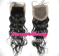 """Fashion Wig  Silk Base Closure Hidden Knots14"""" #1 Natural Wave Silk Top Brazilian Virgin Hair Lace Closure(4""""*4"""")"""
