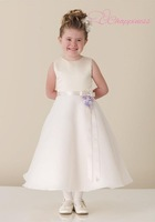 Elegant A Line Jewel Satin/ Organza Vintage Flower Girl Dresses