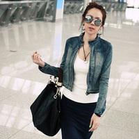 Denim outerwear female 2013 zipper stand collar long-sleeve denim coat slim elastic short design top