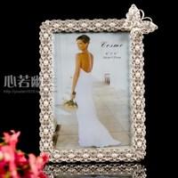 Foto Frame Top Fashion 2014 Sale New Freeshipping Moldura Foto Picture Frames 6 Alloy Enamel Rack Silver Butterfly Wedding Dress
