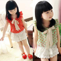 Summer girls clothing girl shirt bow dot female child sleeveless chiffon shirt child t-shirt