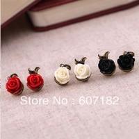 Min order $15 (mix order) latest fashion alloy earring asymmetric Roses stud earrings
