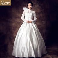 YHZThe word new 2013 wedding dress lace long-sleeved shoulder wedding sweet princess bride married feathers wedding