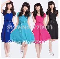princess dress Retro Lace short sleeve vest dress  women girls Sweet Gentlewoman dress free shipping