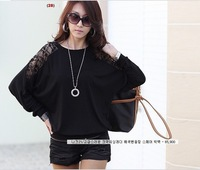 2013 New Fashion Women's Batwing Top Dolman Lace Loose Long Sleeve T-Shirt Blouse Black White free shipping50405