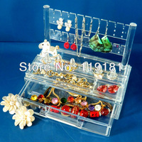 1x Clear Acrylic Earrings/Ring Display Stand Rack Holder Cosmetic Organizer Makeup case Jewelry Storage Drawer Box Gift Crystal
