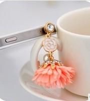 For for iphone 4 4s dust plugs for apple dust plug flower tassel earphones dust plug