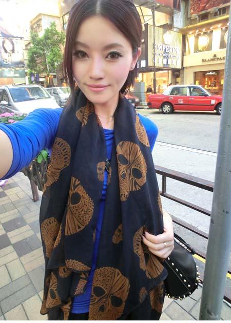 Gift spring elegant skull all-match border silk scarf skull scarf cape(China (Mainland))