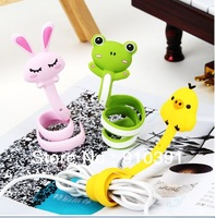 Free shipping DIY cartoon silicone bundling belt as cable tidy animal winder for wire MP3MP4MP5 data line as decoration belt.