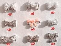 wholesale nail art bow 3D pearl butterfly decoration 200pcs/lot DIY nail jewelry alloy rhinestone free shipping PleaseNote Model