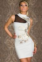 vestido de praia Floral Foil Print Bodycon Dress White sexy party mini  Dresses work wear white,black women dress  winter dress