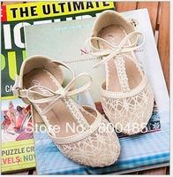 2013 summer new arrival Children shoes single girls sandals eyelet lace  little princess shoes double pearl bowknot  8pcs/lot