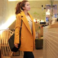 Woolen overcoat female slim medium-long double breasted suit woolen outerwear large