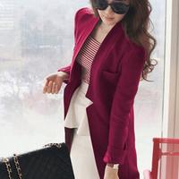 2013 female wool coat medium-long suit casual blazer outerwear woolen plus size