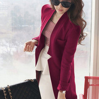 2013 female wool coat medium-long suit casual blazer outerwear woolen plus size