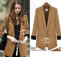 2013 spring and autumn fashion elegant irregular dovetail front edge design long formal blazer