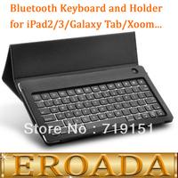 Free shipping Bluetooth Keyboard and Holder for Tablets (iPad 2, New iPad 3, Samsung Galaxy Tab, Asus Eee Pad, Xoom and More)