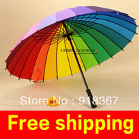 Top Quality Fahsion Long handle rainbow Straight umbrella rain umbrellas paraso Citymoon 24k free shipping retail